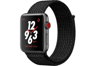 APPLE Watch Series 3 GPS + Cellular eSIM Nike+ 38mm Rymdgrå Aluminiumboett - Sportloop i Svart/Platina