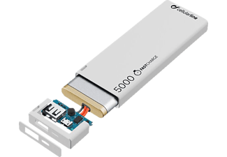 CELLULAR LINE FreePower Slim, Powerbank, 5000 mAh, Weiß