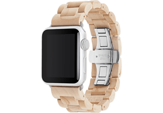WOODCESSORIES EcoStrap - Bracciale di legno Apple Watch - 42 mm - Acero/Argento - -