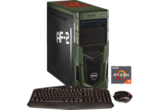 HYRICAN MILITARY GAMING 5989, Gaming PC mit Ryzen™ 7 Prozessor, 16 GB RAM, 500 GB SSD, 1 TB HDD, Geforce® GTX 1070, 8 GB GDDR5 Grafikspeicher