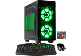 HYRICAN STRIKER 5981 GREEN, Gaming PC mit Ryzen™ 7 Prozessor, 16 GB RAM, 500 GB SSD, 1 TB HDD, Geforce® GTX 1080 Ti, 11 GB GDDR5X Grafikspeicher