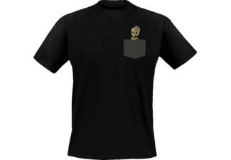 ABYSSE CORP Marvel Shirt (M) Pocket Groot T-Shirt, Schwarz