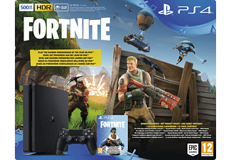 SONY PlayStation 4 500 GB Schwarz + Fortnite Royal Bomber Pack Voucher