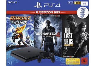 SONY PlayStation 4 1TB Schwarz + The Last of Us Remastered + Uncharted 4 + Ratchet & Clank