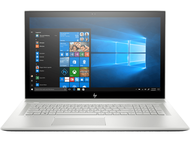 HP ENVY 17-bw0302ng, Notebook mit 17.3 Zoll Display, Core™ i7 Prozessor, 16 GB RAM, 1 TB HDD, 256 GB SSD, GeForce® MX150, Silber