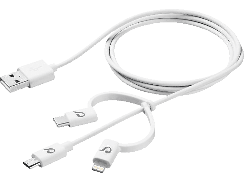 CELLULAR LINE  CELLULARLINE USB Cable Triple 3in1, Datenkabel, 1.2 m, Weiß | 08018080316111