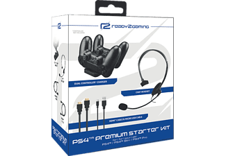 READY 2 GAMING PS4 Premium Starter Kit, Kabel und Headset, Schwarz
