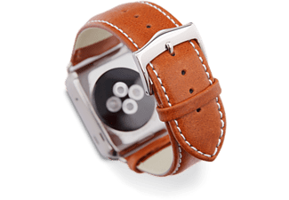 DBRAMANTE1928 COPENHAGEN APPLE WATCH STRAP 42MM - TAN/SILVER