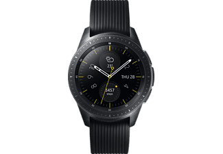 SAMSUNG Galaxy Watch 42mm Telekom + Wireless Charger Duo schwarz + Echtlederarmband schwarz, Smartwatch, Silikon, S, L, Schwarz