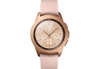SAMSUNG Galaxy Watch 42 mm Telekom + Wireless Charger Duo weiß + Echtlederarmband beige, Smartwatch, Silikon, S, L, Roségold