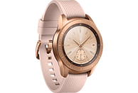 SAMSUNG  Galaxy Watch 42mm Vodafone + Wireless Charger Duo weiß + Echtlederarmband beige Smartwatch Edelstahl, Silikon, S, L, Roségold
