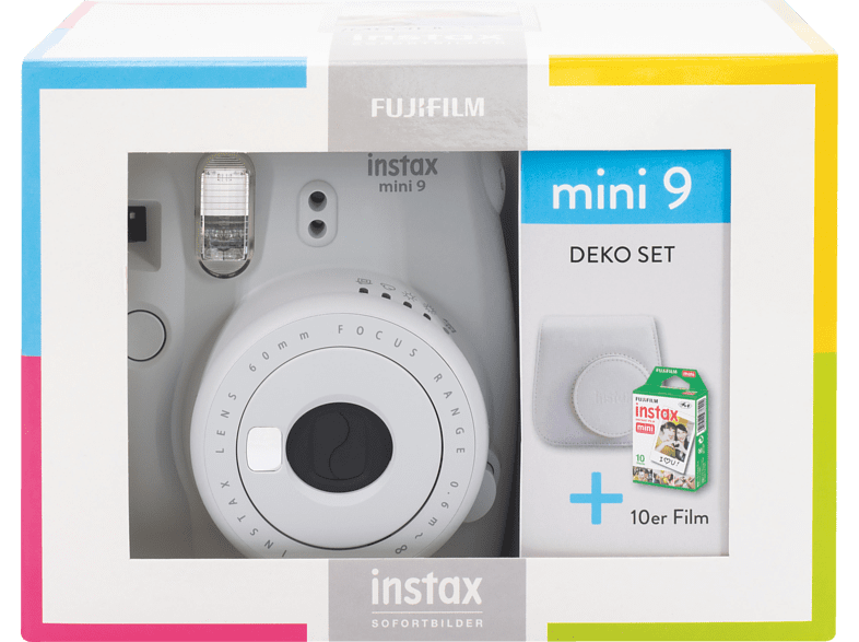 FUJIFILM Instax Mini 9 Travel Set Sofortbildkamera, Smoky White