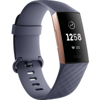 FITBIT Charge 3, Fitnesstracker, S: 140 mm - 180 mm, L: 180mm - 220 mm, Band: Blau Grau / Gehäuse: Rose Gold