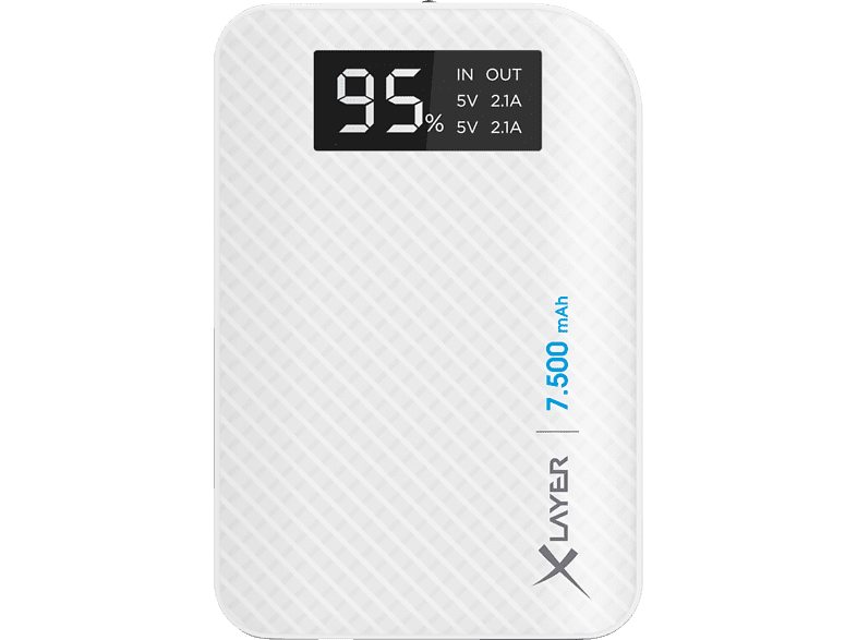 XLAYER Pure Carbon Powerbank 27 Wh (3.6V / 7.500 mAh) Weiß