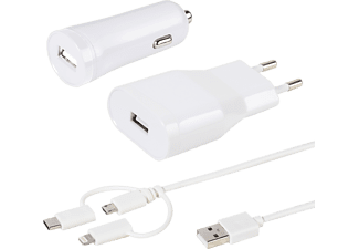 VIVANCO USB-C/-Micro/-Lightningladdare - Vit