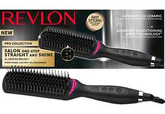 REVLON Salon Straight and Shine XL, Warmluftbürste, Schwarz