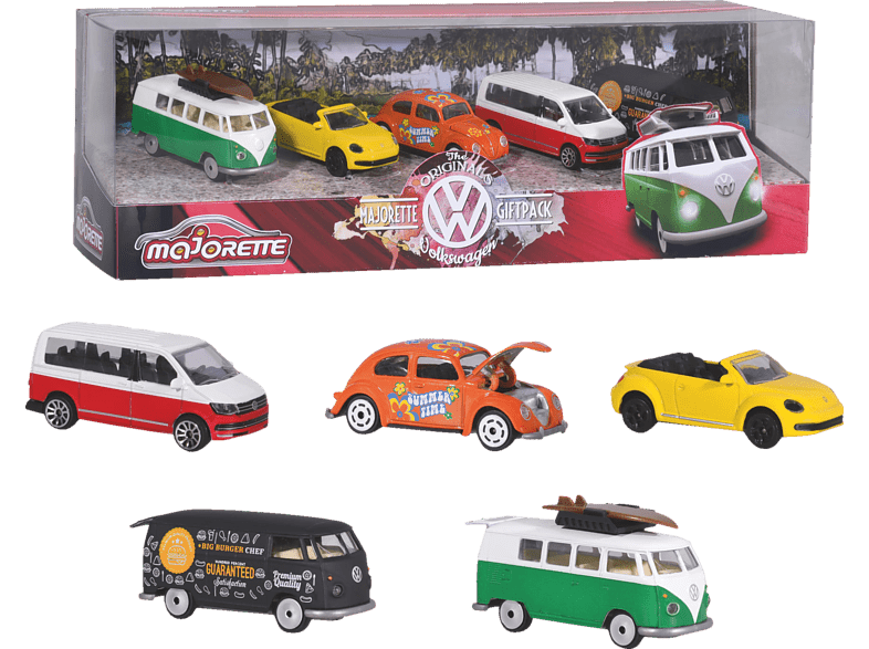 DICKIE TOYS Volkswagen 5 Pieces Giftpack Spielzeugauto, Mehrfarbig