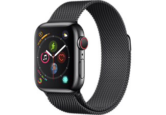 APPLE Watch Series 4 GPS+Cellular eSIM 40mm Rostfri Stålboett i Rymdsvart -  Milanesisk Loop i Rymdsvart