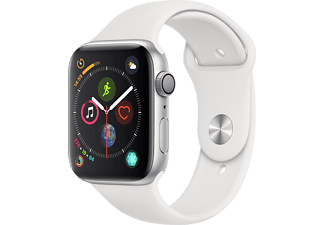 APPLE Watch Series 4 GPS 44mm Aluminiumboett i Silver - Sportband i Vitt