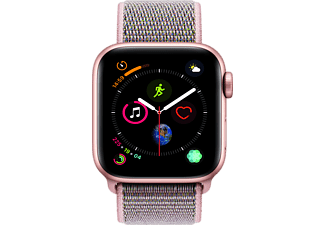 APPLE Watch Series 4 GPS Gold, 44 mm Aluminiumgehäuse mit Sport Loop Sandrosa (MU6G2FD/A)