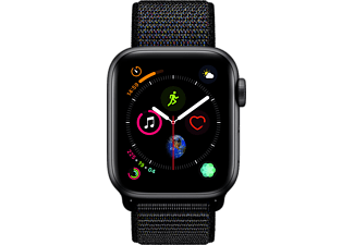APPLE Watch Series 4 GPS Space Grau, 44 mm Aluminiumgehäuse mit Sport Loop Schwarz (MU6E2FD/A)