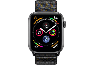APPLE Watch Series 4 GPS + Cellular Space Grau, 40 mm Aluminiumgehäuse mit Sport Loop Schwarz