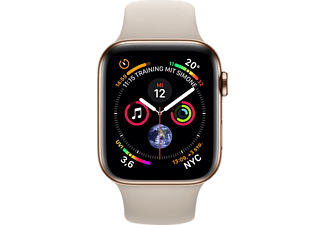 APPLE Watch Series 4 (GPS + Cellular) 40 mm, Smartwatch, Kunststoff, 130-200 mm, Armband: Beige, Gehäuse: Gold
