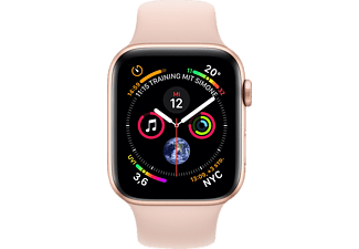 APPLE Watch Series 4 GPS + Cellular Gold, 44 mm Aluminiumgehäuse mit Sportarmband Sandrosa