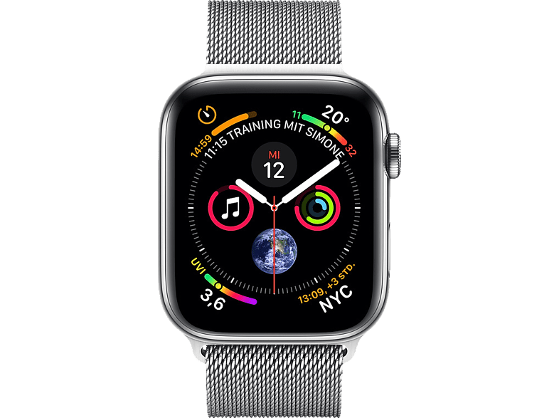APPLE  Watch Series 4 (GPS + Cellular) 40 mm Smartwatch Edelstahl, Milanaise, 130-200 mm, Silber | 00190198911438