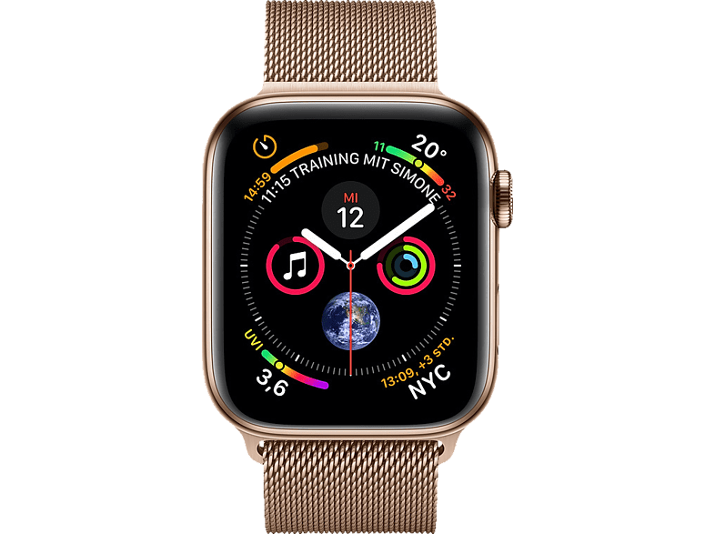 APPLE  Watch Series 4 (GPS + Cellular) 44mm Smartwatch Edelstahl, Milanaise, 145-220 mm, Gold | 00190198912718