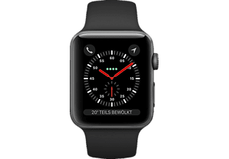 APPLE Watch Series 3 GPS + Cellular Space Grau, 42 mm Aluminiumgehäuse mit Sportarmband Schwarz