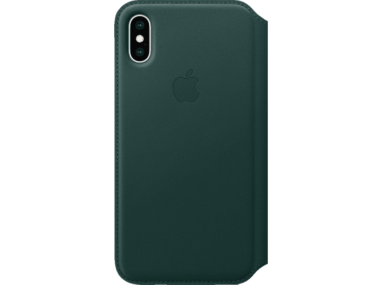 APPLE XS Leder Folio Bookcover Apple iPhone XS Echtleder Waldgrün |