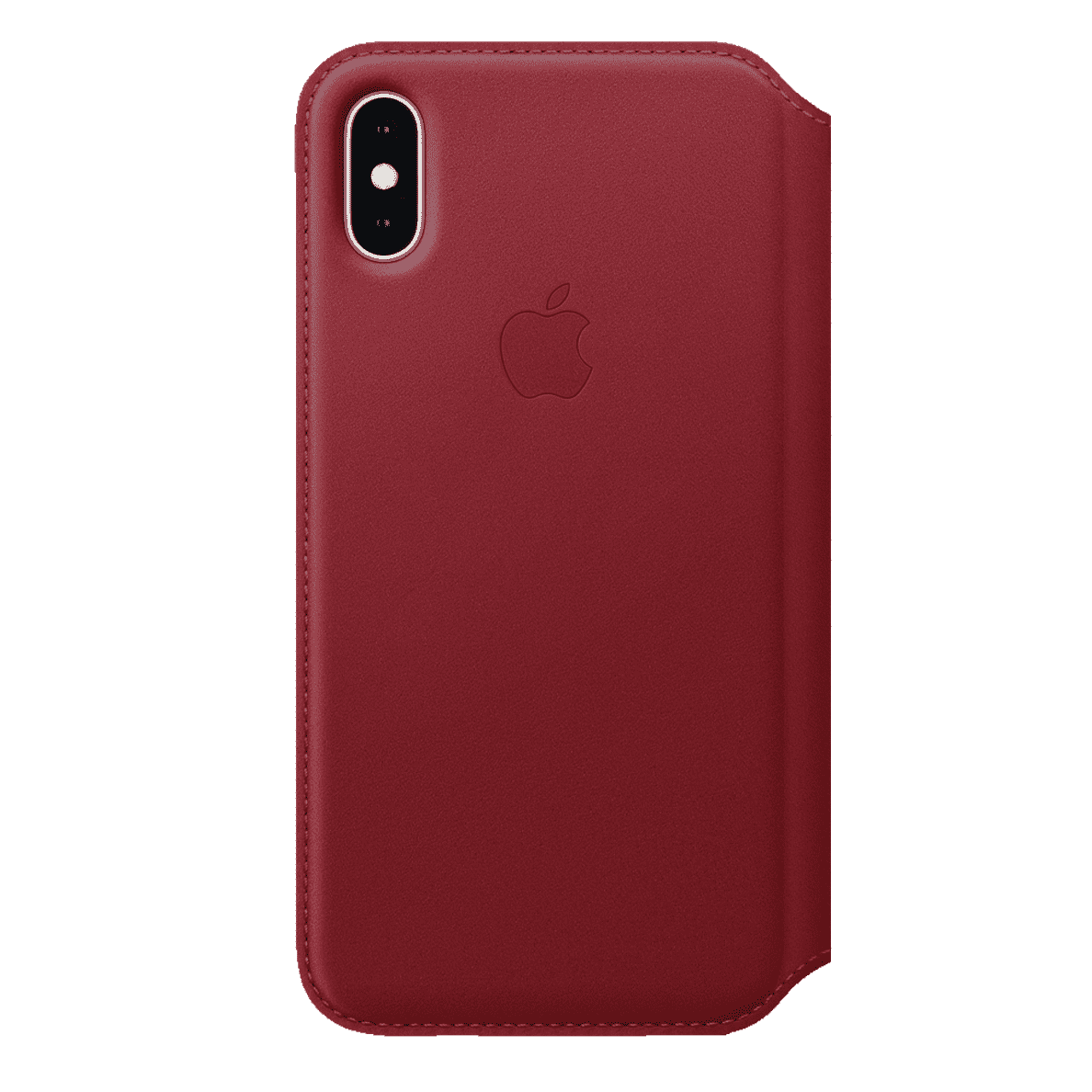 APPLE XS Leder Folio Handyhülle, Rot, passend für Apple iPhone