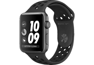 APPLE Watch Nike+ Series 3 GPS Space Grau, 38 mm Aluminiumgehäuse mit Nike Sportarmband Anthrazit/Schwarz