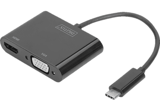 DIGITUS DA-70858 USB Typ-C auf VGA, HDMI (Ultra HD, 4K, 30Hz), USB 3.1 (Gen 1), Grafikadapter