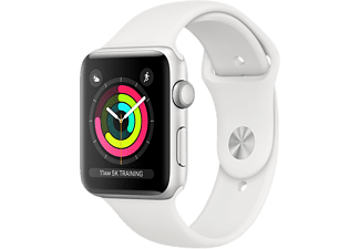 APPLE Watch Series 3 - Boîtier aluminium 38mm Silver - Bracelet sport White