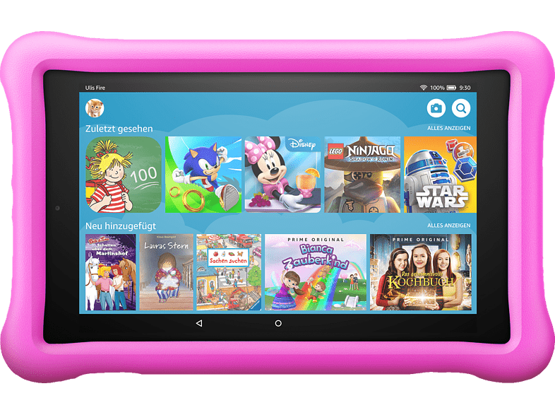 AMAZON Fire HD 8 Kids Edition 32 GB Tablet Schwarz Mit Pinke Kindgerechte Hülle