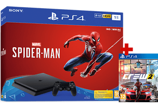 PLAYSTATION PS4 Slim 1TB + Marvel's Spider-Man + The Crew 2