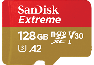 SANDISK Extreme® UHS-I Micro-SDXC Speicherkarte, 128 GB, 160 MB/s, Class 10, UHS Class 3, Video Speed Class 30 (V30)