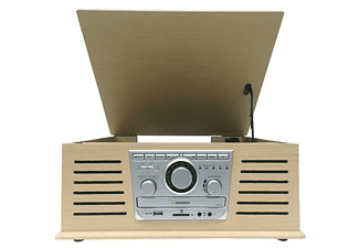 Tocadiscos - Sunstech PXR42CD, 3 velocidades, 5 W, Bluetooth, CD, USB, Radio, Madera Retro
