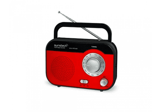 Radio portátil - Sunstech RPS560 RD Rojo, Sintonizador AM/FM, Pila y red