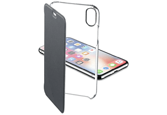 Funda libro - Cellularline Clear Book, Iphone X, Transparente y negro