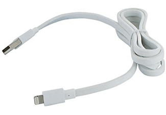 Cable USB a Lightning para Apple iPhone - Muvit, cable plano, blanco