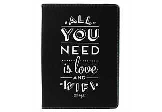 Funda para tablet de 9.7 a 10.1 pulgadas - Mr Wonderful All you need is love and WiFi, negra