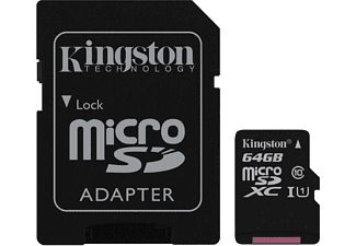 Tarjeta MicroSD de 64GB - Kingston Technology Canvas Select, UHS-I, Clase 10