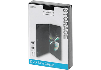 DVD - Vivanco 31714 Slim, 5 piezas, Negro