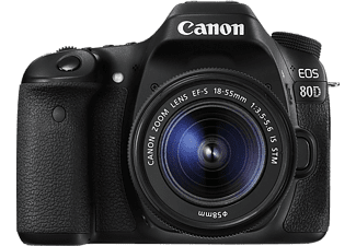 Cámara réflex - Canon EOS 80D, Sensor CMOs, 24.2 MP, Vídeo Full HD, 45 puntos AF, DIGIC 6, WiFi