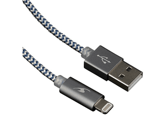 Cable USB - Bluestork SMART-LI-LED 1.2m USB A Lightning Negro-Plata cable de teléfono móvil