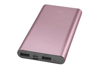 PowerBank - Ksix Metal Powerlive, 10000 mAh, 2 USB, Rosa dorado