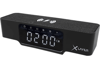 XLAYER Ladegerät XLayer Wireless Charging Alarm Clock Black Smartphones/Tablets Digitaluhr, Schwarz
